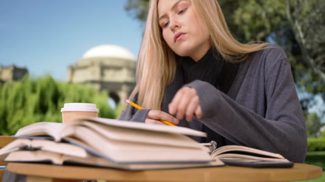 pretty young woman reading and writing for a term paper - broken pencil stock videos & royalty-free footage