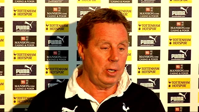 preview of carling cup final between tottenham hotspur and manchester united london harry redknapp press conference sot on winning record of alex... - ハリー レッドナップ点の映像素材/bロール