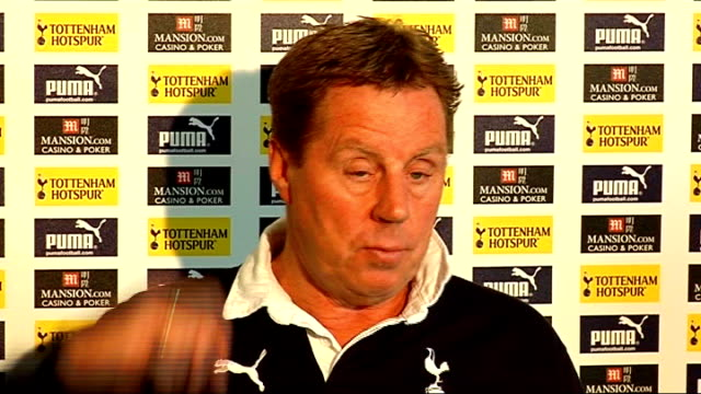 preview of carling cup final between tottenham hotspur and manchester united london int harry redknapp press conference sot on good recent spurs form... - tottenham hotspur f.c stock videos & royalty-free footage