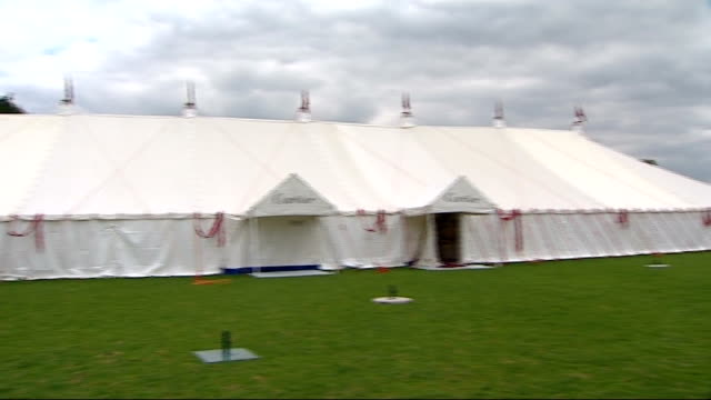 preview of cartier international polo day guards polo club ext gvs cartier marquee and hospitality tents - festzelt stock-videos und b-roll-filmmaterial