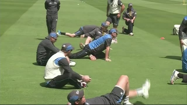 Preview of England New Zealand First Test Match at Lords Press conferences EXT Various of New Zealand cricket team training