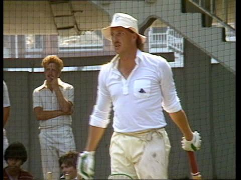 preview of england vs new zealand test match: ian botham fitness; london: lords: botham batting in practice net / botham obscured by other players /... - cricket video stock e b–roll