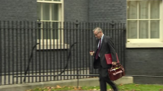 preview of government environment strategy date ext michael gove mp arriving at number 10 holding disposable coffee cup - disposable stock videos and b-roll footage