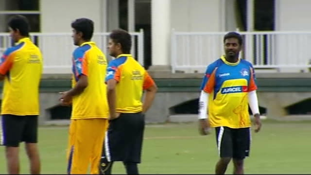 preview of ipl twenty20 tournament cape town ext various shots of chennai super kings cricketers including andrew flintoff practising in nets andrew... - クリケット点の映像素材/bロール