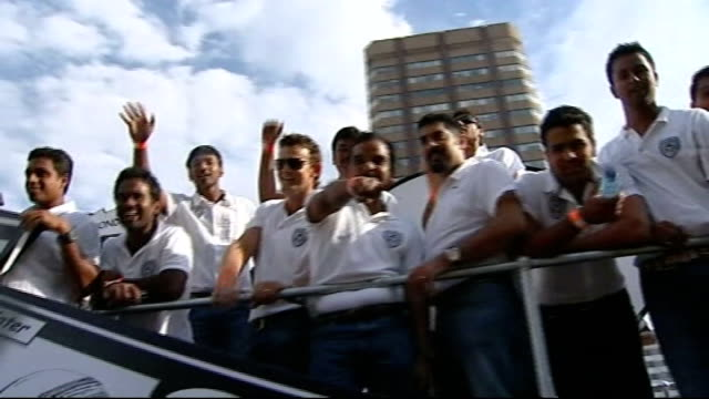 preview of ipl twenty20 tournament south africa cape town ext carnival band playing sot as along in parade to advertise the upcoming indian premier... - parade float stock videos and b-roll footage