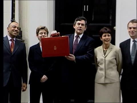 price of beer likely to rise lib london 11 downing street chancellor of the exchequer gordon brown mp holding budget box posing for photocall with... - chancellor of the exchequer stock videos and b-roll footage