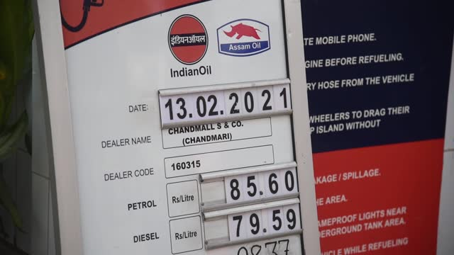prices are shown at a fuel station on february 13, 2021 in guwahati, india. ahead of assembly elections, the assam government has decided to reduce... - tax stock videos & royalty-free footage