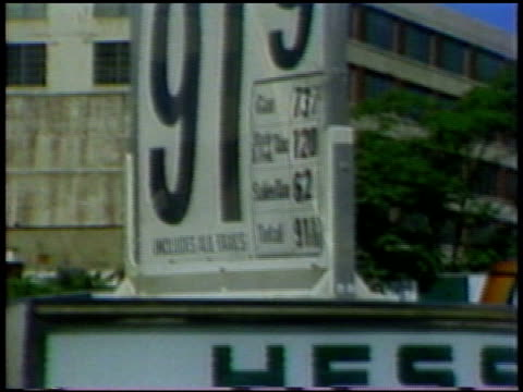 prices at hess gas station on july 01, 1978 in new york, new york - ölindustrie stock-videos und b-roll-filmmaterial