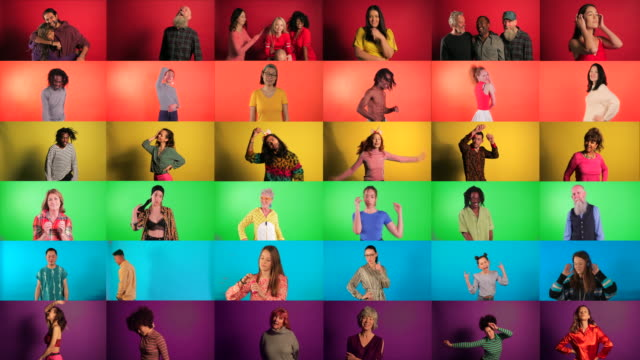 vídeos de stock e filmes b-roll de pride flag montage - multi ethnic group