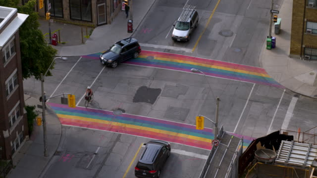 LGBT Pride Flags Painted on the Streets in the Gay Village in Toronto