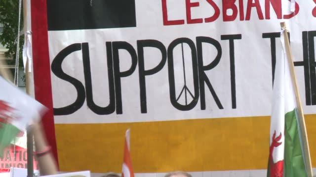 lesbians and gays support the miners england london ext various of the groups lesbians and gays support the miners and the mark ashton trust taking... - miner stock videos & royalty-free footage