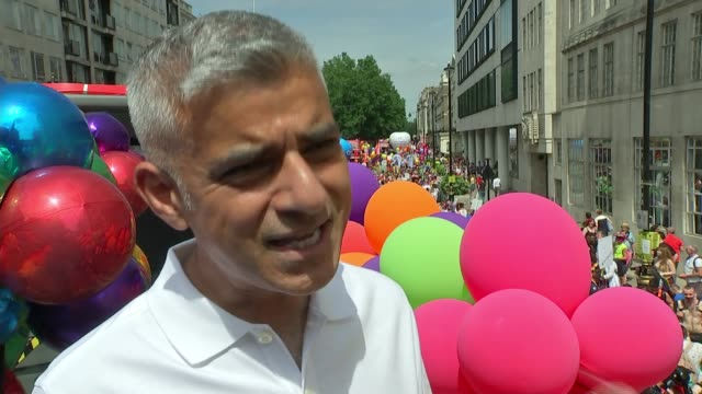 annual lgbt parade takes places amidst increased security; england: london: ext sadiq khan standing on large rainbow coloured strip of fabric as... - tutu stock videos & royalty-free footage