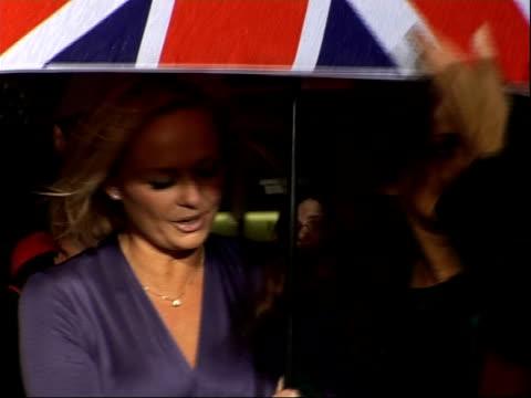 Arrivals and interviews Emma Bunton and Geri Halliwell arriving