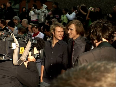 Arrivals and interviews McFly arriving Olympic gold medalist Chris Hoy arriving McFly speaking to press SOT