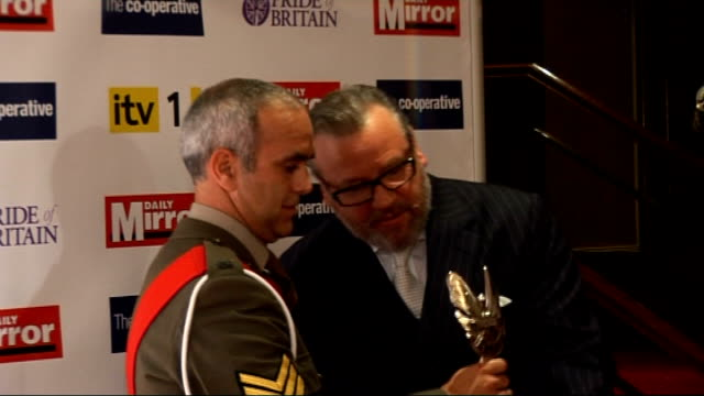 pride of britain awards 2009: arrivals and backstage interviews; backstage photocalls and interviews: int michael caine photocall and interview with... - 俳優 マイケル・ケイン点の映像素材/bロール