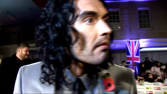 Red carpet arrivals and interviews Russell Brand interview SOT Pride is a deadly sin / Always tried to be a good neighbour / His mum will probably...