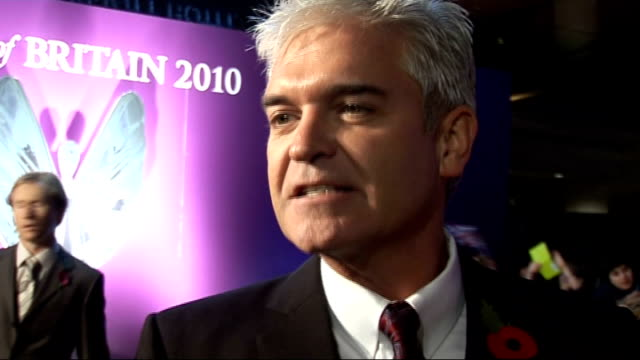 pride of britain awards 2010: red carpet arrivals and interviews; philip schofield interview sot - on x factor cheryl cole voting controversy / will... - フィリップ スコフィールド点の映像素材/bロール