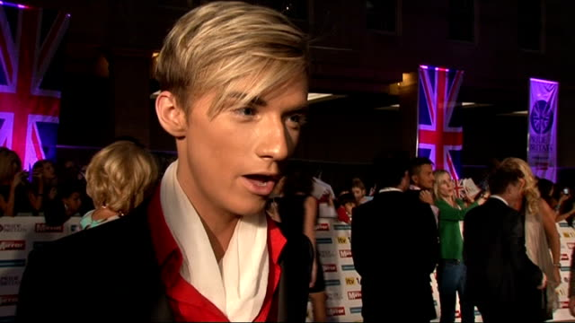 pride of britain awards 2011: red carpet arrivals and interviews; harry derbridge interview sot - on his outfit / whether he's leaving towie / you... - the x factor stock videos & royalty-free footage