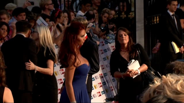 red carpet arrivals and interviews mollie king and vanessa white posing / emma bunton speaking to press / kimberley walsh posing / amy childs posing... - reality tv stock videos & royalty-free footage