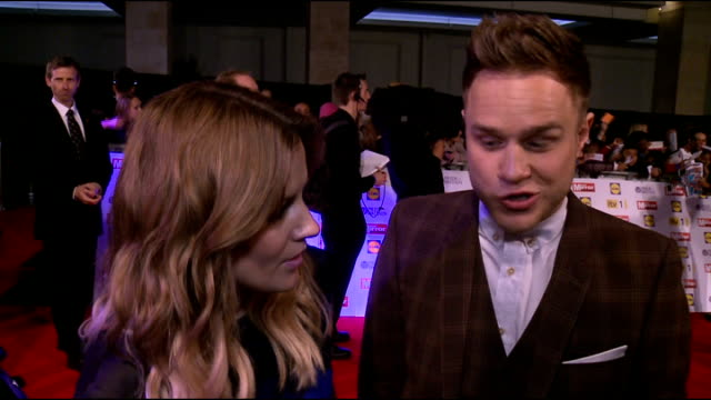 Red carpet arrivals Myleene Klass interview SOT Olly Murs / Christopher Maloney Olly Murs and Caroline Flack interview SOT James Arthur Christopher...