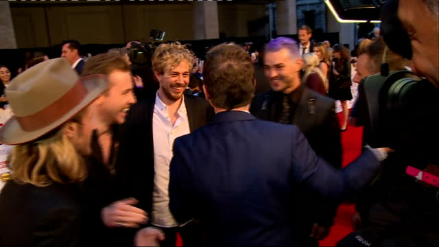 arrivals jamie oliver interview sot / mcbusted speaking to press and interview sot / union j interview sot / charlotte hawkins posing / obscured shot... - 2014 stock videos & royalty-free footage