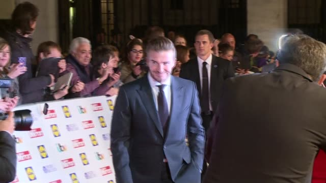 Bailey Matthews wins Child of Courage award ENGLAND London Grosvenor House Hotel PHOTOGRAPHY*** David Beckham arriving on red carpet Simon Cowell...