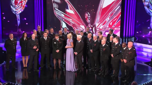 prince william attends and meets winners gvs inside auditorium for awards ceremony / gvs prince william clapping / gvs fire fighters on stage with... - phillip schofield stock videos & royalty-free footage
