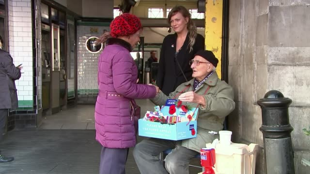pride of britain awards 2019: profile of poppy seller bill champion; england: london: tooting: int bill champion interview sot ext various shots of... - selling stock videos & royalty-free footage