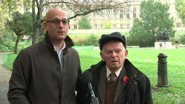 interview with holocaust survivor sir ben helfgott england london westminster ext various shots maurice helfgott and sir ben helfgott interview sot - war and conflict点の映像素材/bロール
