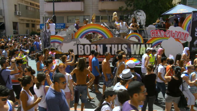 ms pride on display at gay parade / tel aviv, israel  - marciare video stock e b–roll