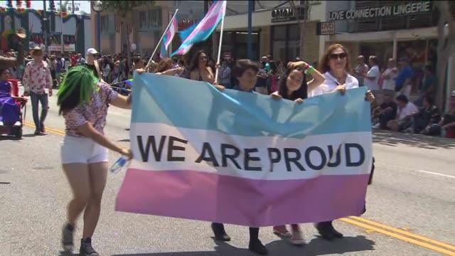 pride parade draws thousands to west hollywood on june 13, 2015. - west hollywood stock videos & royalty-free footage