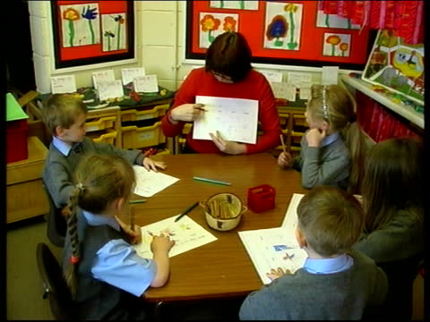 charlotte england warrington int female school teacher sitting at table with primary school pupils two little boys sitting at computer gv boys and... - boys stock videos & royalty-free footage
