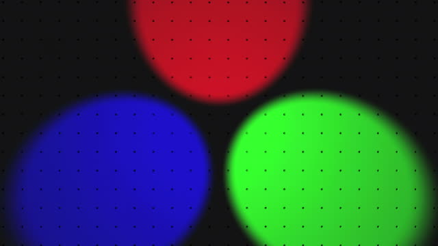 primary colours (green, red and blue light) coming together to produce the additive secondary colours (cyan, magenta and yellow) and white - plusphoto stock-videos und b-roll-filmmaterial