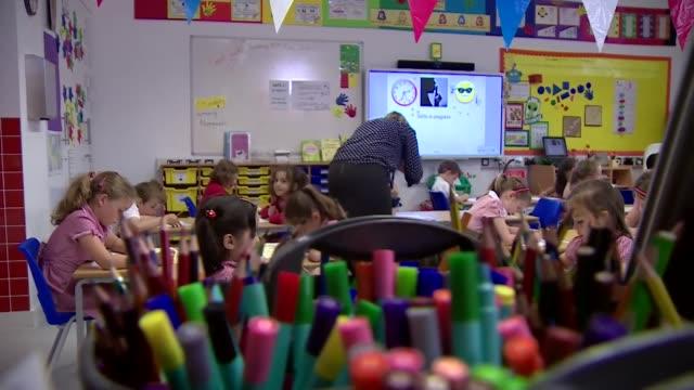 Primary school children sitting SAT exam Liverpool