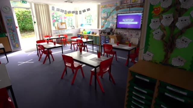 primary school classroom set up for social distancing when some classes return to school as coronavirus lockdown restrictions ease, north somerset - classroom stock videos & royalty-free footage