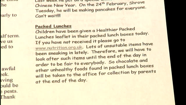 primary school makes controversial decision to remove junk food from children's packed lunches deborah metcalf interview sot close shot of school... - newsletter stock videos & royalty-free footage
