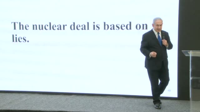 prime minister benjamin netanyahu claims an iran nuclear deal is based on iranian lies and says he has new proof of a secret iranian nuclear weapons... - prime minister video stock e b–roll