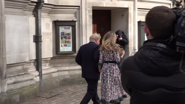 prime minister boris johnson and finance carrie symonds leave the methodist central hall after casting their votes in the mayoral election on may 06,... - election stock videos & royalty-free footage