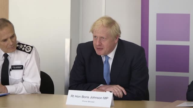 prime minister boris johnson and home secretary priti patel attend a national policing board meeting at the home office attendees include policing... - priti patel stock-videos und b-roll-filmmaterial