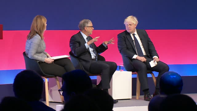 prime minister boris johnson and microsoft founder bill gates at the global investment summit - professional occupation stock videos & royalty-free footage