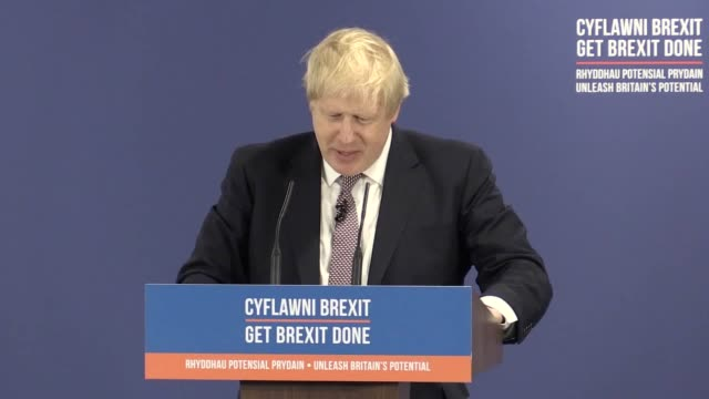 vídeos de stock e filmes b-roll de prime minister boris johnson compares the labour manifesto to his own efforts at shearing a sheep and defends against allegations of misleading... - tosquiar