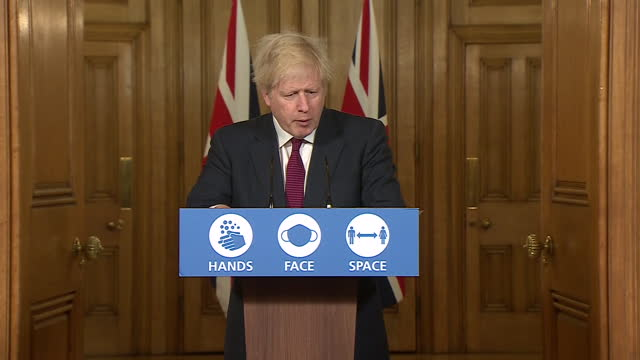 prime minister boris johnson confirming people living in coronavirus tier 4 can not mix households during the christmas period - boris johnson stock videos & royalty-free footage