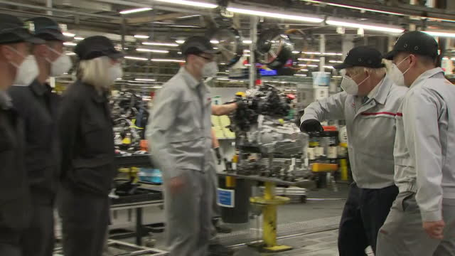 prime minister boris johnson elbow-bumping employees at the nissan car plant in sunderland - greeting stock videos & royalty-free footage
