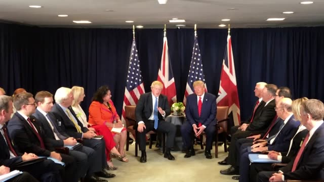 prime minister boris johnson meets with us president donald trump at the un general assembly in new york. - vereinte nationen stock-videos und b-roll-filmmaterial