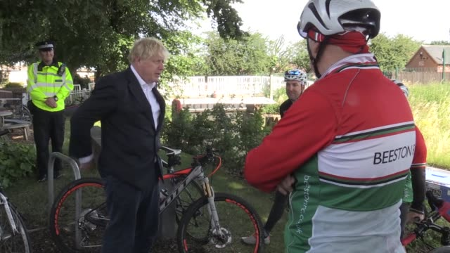 prime minister boris johnson rides a bicycle during a visit to the canal side heritage centre in beeston near nottingham to launch of a strategy to... - bicycle stock videos & royalty-free footage