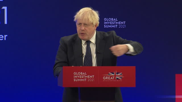 prime minister boris johnson saying green technology will become affordable in the future at the global investment summit - professional occupation stock videos & royalty-free footage
