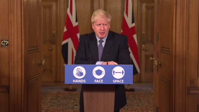 """prime minister boris johnson saying he """"bitterly regrets"""" imposing coronavirus restrictions that damage people's businesses and lives - awe stock videos & royalty-free footage"""