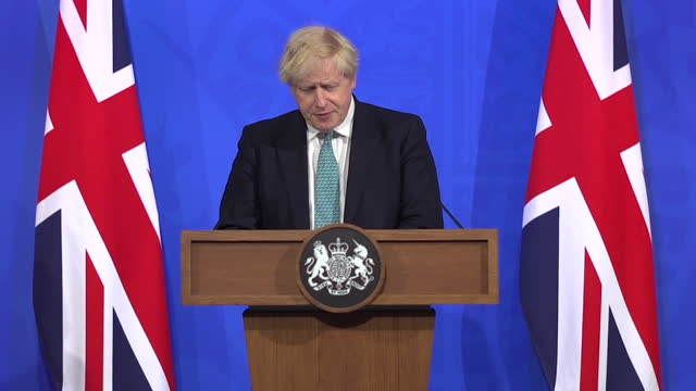 prime minister boris johnson saying the indian coronavirus variant poses a threat to the full easing of lockdown restrictions on june 21st - risk stock videos & royalty-free footage