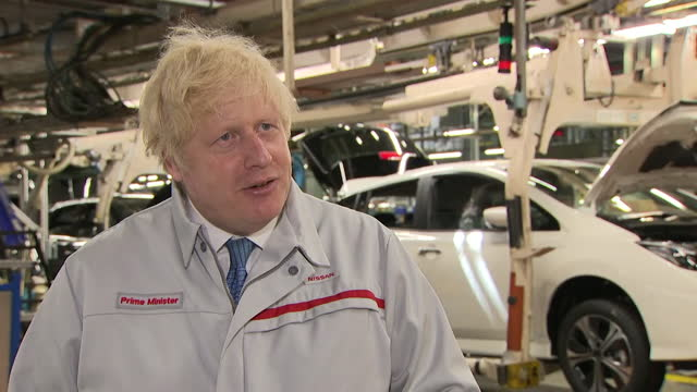 prime minister boris johnson talking about the benefits of nissan's billion-pound investment into expanding electric vehicle production at its... - electric vehicle stock videos & royalty-free footage