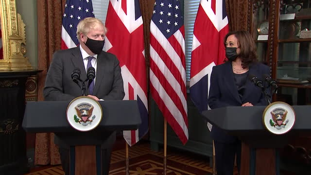 """prime minister boris johnson telling us vice president kamala harris """"your curious ban on british beef has been removed, which is a wonderful thing"""" - symbol stock videos & royalty-free footage"""